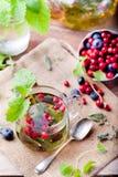 Травяной чай с свежими ягодами Романтичная осень, предпосылка лета Стоковая Фотография RF