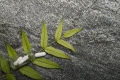 Травяные пилюльки и бутылка на зеленых листьях Стоковая Фотография