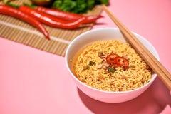 Традиционная азиатская еда немедленных лапшей с овощами Стоковая Фотография