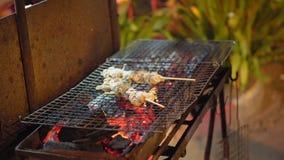 Традиционная азиатская еда улицы варить морепродукты на огне сток-видео