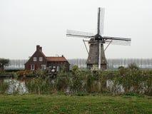 Традиционная голландская мельница в зеленом ландшафте стоковые фотографии rf