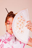 Традиционная женщина с вентилятором Стоковые Фото