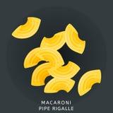 Традиционная итальянская кухня Макаронные изделия rigalle трубы Продукт пшеницы муки Значок изолированный на темной предпосылке т Стоковые Изображения
