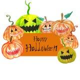 Традиционная карта хеллоуина со страшными высекаенными тыквами, приглашениями на праздник от октября иллюстрация штока