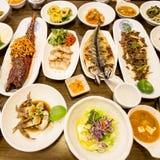 Традиционная корейская таблица пиршества, Сеул, Южная Корея стоковые изображения rf