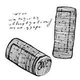 Традиционная пробочка вина r Нарисованная рука гравирующ иллюстрации стиля бесплатная иллюстрация