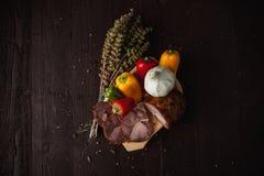 Традиционная простая еда настроила с мясом и овощами Стоковое Изображение RF
