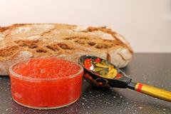 Традиционная русская еда - красная икра Деревянная ложка покрашенная в традиционном стиле Khokhloma Стоковое Фото