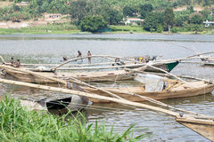 Традиционная шлюпка Kivu озера рыболова на Gisenyi Стоковое Изображение RF
