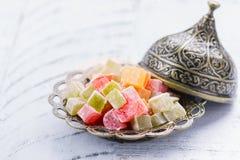 Традиционное восточное lokum rahat десерта Стоковая Фотография