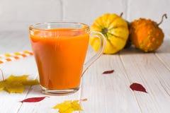 Традиционное питье осени Стеклянные чашки сока тыквы, тыкв и упаденных листьев стоковая фотография