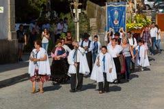 Традиционное религиозное шествие Senhora da Abadia в Amares, Португалии стоковое изображение rf