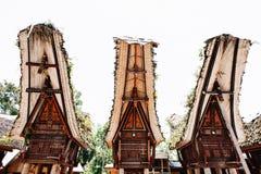 Традиционное torajan здание tongkonan с высекать и ладьевидные крышами Tana Toraja, Rantepao, Сулавеси, Индонезия Стоковая Фотография RF