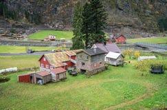 Традиционные дома в деревне Flam в Норвегии Стоковые Изображения