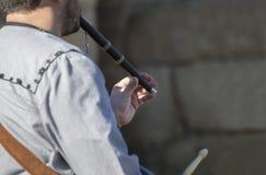 Традиционные игрок каннелюры и барабанщик от северной эстремадуры Стоковое Фото