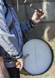 Традиционные игрок каннелюры и барабанщик от северной эстремадуры Стоковые Изображения RF