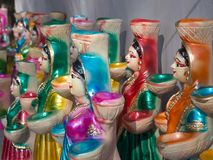 Традиционные куклы Diwali, используемые как лампы стоковое изображение rf