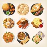 Традиционные обедающие различных стран мира иллюстрация вектора