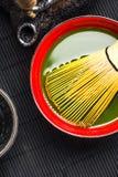 Традиционный бамбук юркнут и чай matcha Стоковое фото RF