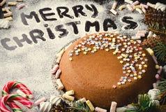 Традиционный домодельный текст веселого рождества шоколада на снеге с шоколадным тортом, тросточками конфеты и зефиром, Новым Год стоковое фото rf