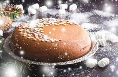 Традиционный домодельный торт рождества шоколада с звездами сахара и зефиром, украшением Нового Года стоковое изображение