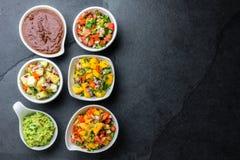 Традиционный известный мексиканец sauces poblano моли chili шоколада, pico de gallo, гуакамоле авокадоа, bandera сальсы, сальса а стоковое фото