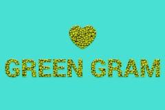 Традиционный индийский текст текстуры зеленого грамма Vegan, вегетарианская супер еда и еда вытрезвителя иллюстрация вектора