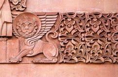 Традиционный каменный высекая орнамент на стене армянской православной церков церков Стоковые Изображения RF