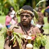 Традиционный костюмированный танцор на церемонии танца, Новая Гвинея Стоковая Фотография RF