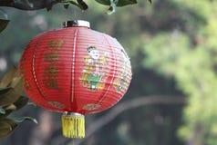 Традиционный красный китайский фонарик с зеленой естественной предпосылкой Стоковые Изображения
