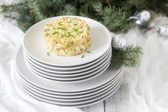 Традиционный праздничный салат Olivier на белой плите с ` s Нового Года или оформлением рождества Советские традиции стоковые фотографии rf