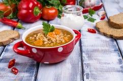 Традиционный пряный суп с рисом Стоковое Изображение