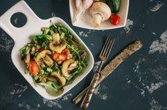 Традиционный среднеземноморской салат чечевицы и кусок огурца и зеленых листьев салата и астрагона Стоковое Фото