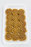 Традиционный тайский десерт вызвал Kao Tu на белом пакете пены Стоковые Фотографии RF