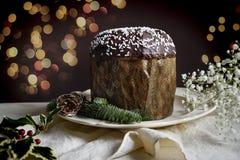 Традиционный торт рождества, кулич, с шоколадом Стоковая Фотография