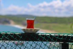 Традиционный турецкий завтрак и турецкий чай Стоковые Фото