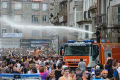 Традиционный фестиваль воды в Villagarcia de Arousa Стоковые Изображения