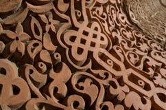 Традиционный флористический орнамент Средней Азии - средневековое восточное мусульманское искусство, детали мавзолея ` s Karakhan стоковое фото