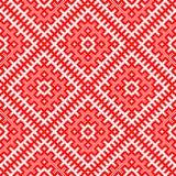 Традиционный этнический русский и славянский орнамент Схематический взгляд в форме квадратов Стоковое Фото