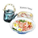 Традиционный японский обед кухни с супом лапш рамэнов, тусклой суммой и чайником Иллюстрация чернил и акварели иллюстрация штока