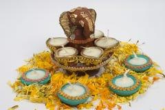традиция светильников ganesha индийская Стоковое фото RF