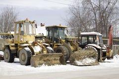 3 трактора ждать работу Стоковое Фото