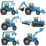 Трактор вектора аграрный установил 3 Стоковые Изображения