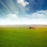 Трактор в урожаях сбора поля Стоковые Изображения RF