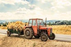 Трактор гружёный с сухими черенок мозоли стоковые фотографии rf