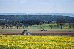 Трактор засаживая картошки в весеннем времени Стоковое фото RF