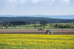 Трактор засаживая картошки в весеннем времени Стоковые Изображения RF