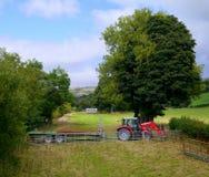 Трактор и трейлер, в пастельной установке ландшафта страны Стоковое Изображение RF