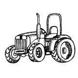 Трактор на белой предпосылке Стоковое фото RF