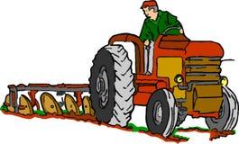 Трактор на работе на белой предпосылке Стоковая Фотография RF